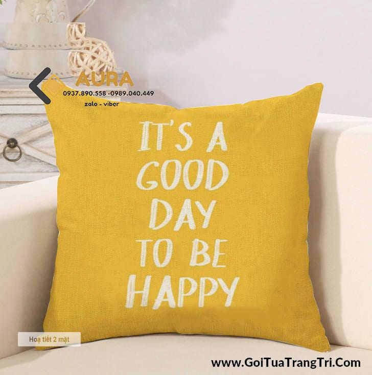 Gối Tựa Sofa Good Day Vàng (Vỏ Gối 2 mặt)