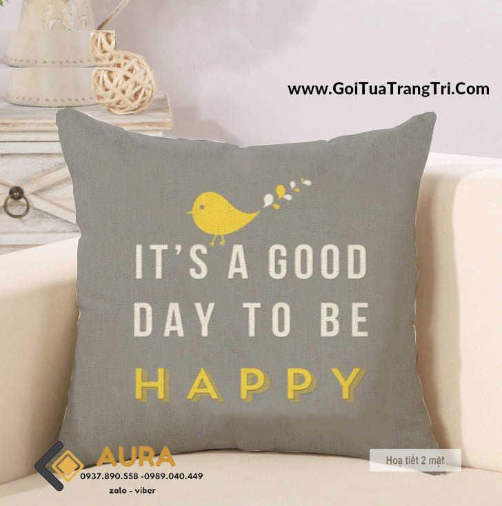 Gối Tựa Sofa Good Day Xám (Vỏ Gối 2 mặt)
