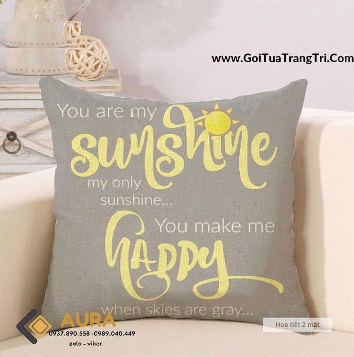 Gối Tựa Sofa Sunshine Xám (Vỏ Gối 2 mặt)