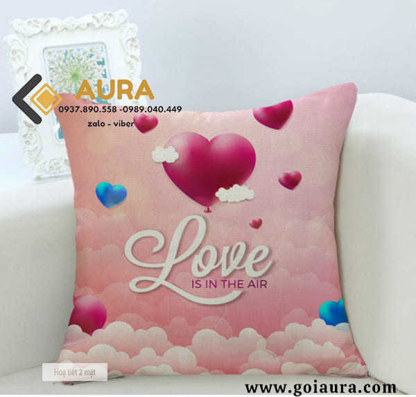 Gối Tựa Sofa Love Hồng (Vỏ Gối 2 mặt)