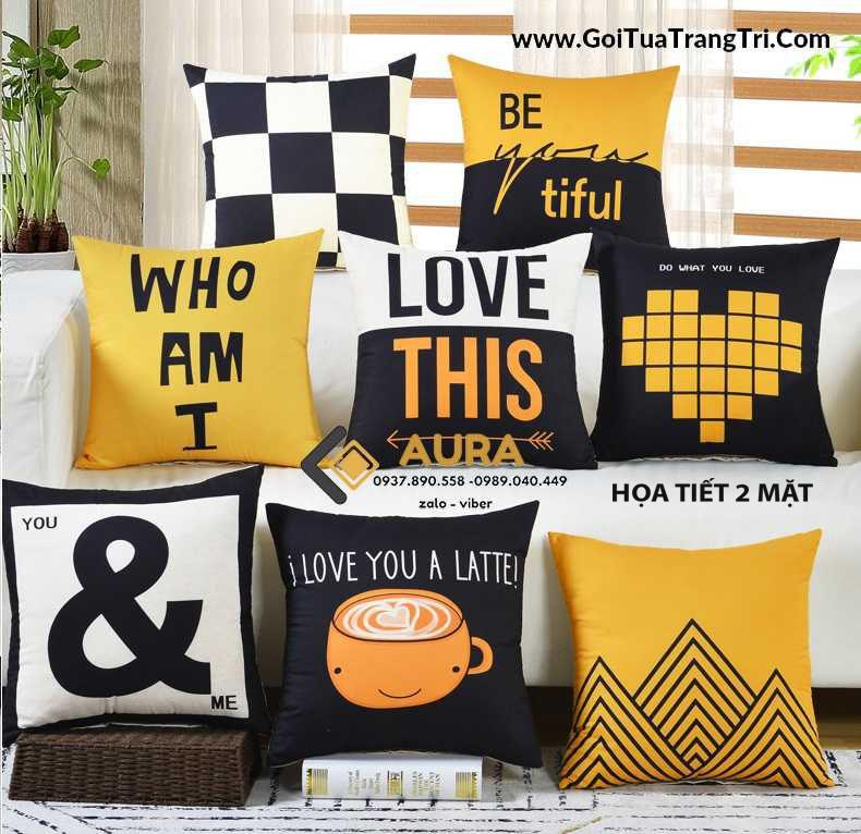 Bộ Gối Tựa Sofa Lập Thể Đen Vàng (Vỏ Gối 2 mặt)